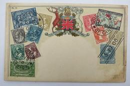 """(10/7/97) Postkarte/AK """"verschiedene Briefmarken Aus Canada"""" Wappen, The Province Of British Columbia, Um 1900 - Stamps (pictures)"""