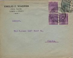 "1916 , PERÚ , SOBRE COMERCIAL CIRCULADO , LIMA - PANAMA , MAT. "" LIMA ÚLTIMA HORA "" , LLEGADA ""AGENCIA POSTAL / PANAMA"" - Pérou"