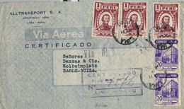 1949 , PERÚ , SOBRE CERTIFICADO POR VIA AÉREA , LIMA - BASILEA , LLEGADA AL DORSO - Perú