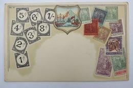 "(10/7/98) Postkarte/AK ""verschiedene Briefmarken Aus Trinidad"" Wappen, Um 1900 - Timbres (représentations)"