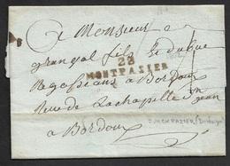 1802 - LAC - 23 MONTPAZIER 41mm X 9mm (Dordogne) A BORDEAUX - Marcophilie (Lettres)
