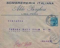 1916 , PERÚ , SOBRE CIRCULADO ENTRE LIMA ( CALLAO ) Y COLÓN ( PANAMA ) , TRÁNSITO , LLEGADA - CRISTOBAL - Perú
