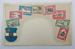 """(10/7/99) Postkarte/AK """"verschiedene Briefmarken Aus Congo, Mit Wappen, Um 1900 - Timbres (représentations)"""