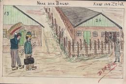 Kamp Van Zeist Naar Den Bagno Originele Ingekleurde Pentekening Op Briefkaart (D. De Bom Bum ?) - Zeist