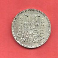 10 Frs TURIN , 1930 , Métal: ARGENT , N° Franc: 360.1 , TTB- - Frankrijk