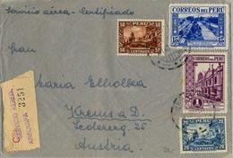 1937 , PERÚ , SOBRE CERTIFICADO POR VIA AÉREA , AREQUIPA - AUSTRIA - Perú