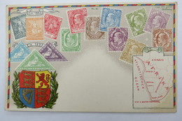 """(10/7/100) Postkarte/AK """"verschiedene Briefmarken Vom Cap Der Guten Hoffnung"""", Mit Wappen, Mit Umgebungskarte, Um 1900 - Timbres (représentations)"""