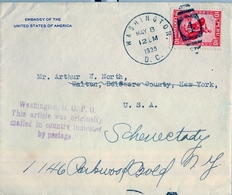 1935 , PERÚ , LIMA - WASHINGTON , CORREO CONSULAR , MAT. DE WASHINGTON SOBRE EL SELLO. - Perú