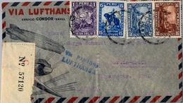 1936 , PERÚ , LIMA - BERLIN , MAGNÍFICO SOBRE CIRCULADO VIA PANAGRA - LUFTHANSA , CERTIFICADO , LLEGADA AL DORSO - Perú