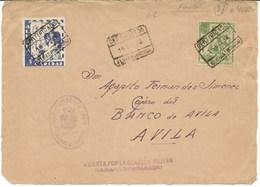 España. Frontal De Carta Circulada Por Correo Certificada Con Sellos Locales De Alhama - 1931-Hoy: 2ª República - ... Juan Carlos I