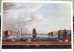 Saint Petersburg, St. Isaac's Pontoon Bridge Across The River. Copy Of Engraving On Copper 1815. USSR Russia Postcard - Russia