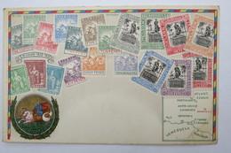 """(10/8/2) Postkarte/AK """"verschiedene Briefmarken Von Barbados"""", Mit Umgebungskarte, Um 1900 - Timbres (représentations)"""