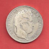5 Frs IIe TYPE DOMARD , 1843 W , Métal: ARGENT , N° Franc: 324-104 , TB+/TTB- - France