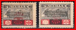 ESPAÑA 2 SELLOS VIÑETA DE LA FALANJE SEVILLA 5 CTS - 1931-50 Nuevos & Fijasellos