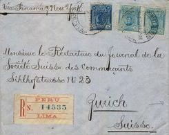 1914 , PERÚ , LIMA - ZURICH , BONITO SOBRE CERTIFICADO Y CIRCULADO VIA PANAMÁ Y NUEVA YORK , TRANSITO DE LONDRES - Perú