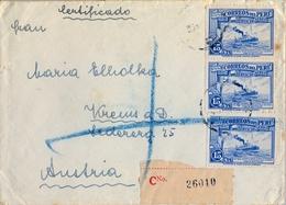1937 , PERÚ , SOBRE CERTIFICADO , AREQUIPA - AUSTRIA - Perú