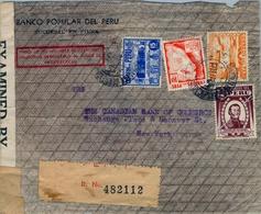 1942 , PERÚ , SOBRE CERTIFICADO DEL BANCO POPULAR DEL PERÚ , PIURA - NUEVA YORK , CENSURAS , TRÁNSITOS , LLEGADA - Perú