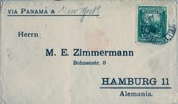 1904 , PERÚ , SOBRE CIRCULADO VIA PANAMÁ Y NUEVA YORK , LIMA - HAMBURGO , LLEGADA AL DORSO - Perú