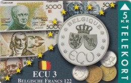 Denmark, TP 090, Ecu Series - Belgium, Coins, Notes, Flag, Mint Only 1500 Issued, 2 Scans. - Denmark