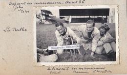 LA PERTHE  PLANCY L'ABBAYE 1936 - Photo Originale De 3 Aviateurs Nommés Avec Le Chien Mascotte ( Aube ) - Lieux