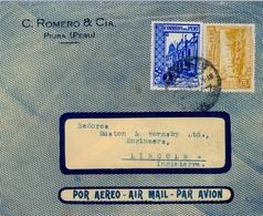 1937 , PERÚ , SOBRE CIRCULADO POR VIA AÉREA , PIURA - LINCOLN - Perú
