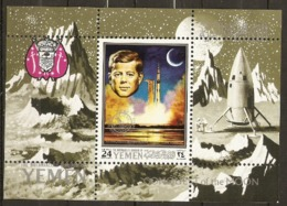 Yemen  1970  Kennedy  Conquering Space  Miniature Sheet Unmounted Mint - Space