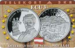 Denmark, TP 099B, ECU-Austria, Mint, Only 1200 Issued, Coins, Flag, Strauss, 2 Scans. - Denmark
