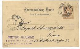 GANZSACHE  VON DUBROVNIK RAGUSA NACH WIEN  1886 - 1850-1918 Empire