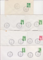 Lot 7 Lettres Oblitération SALON DU PRET A PORTER FEMININ PARIS Bureau Temporaire 1961 1980 1981 1989 1990 - Marcofilia (sobres)