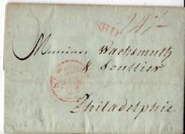 Lettre De Bordeaux à Philadelphie  En 1805 (date Dans Les Deux Clendriers) Mention Rouge SHIP Sur Le Recto - Schiffspost