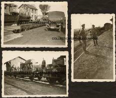 TOP - SOULLANS - LA GARE - LOT 3 CLICHES DECHARGEMENT D'UN TRAIN PAR L'OCCUPANT ALLEMAND -BELLE LOCOMOTIVE EN MARS 1941 - Soullans