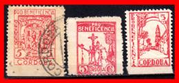 ESPAÑA 3 SELLOS DIFERENTES VIÑETA GUERRA CIVIL - 1931-50 Nuevos & Fijasellos