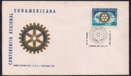 Uruguay - FDC - 1969 - 50ème Anniversaire Du Rotary Club De Montevideo - Conférence Régionale Sud-américaine - Rotary, Lions Club
