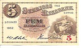 Sweden  5 Kronor  1952 - Suecia