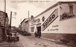 Lezoux  63   Le Grand Garage  Sur, Route De Billom Avec Voitures Et Animées - Lezoux