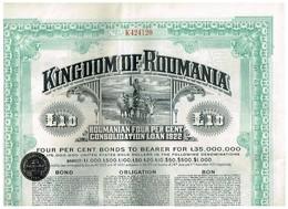Obligation Ancienne - Lot De 3 Obligations Kingdom Of Roumania -Consolidated Loan 1922 - 4% - Aandelen