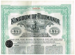 Obligation Ancienne - Lot De 4 Obligations Kingdom Of Roumania -Consolidated Loan 1922 - 4% - Actions & Titres