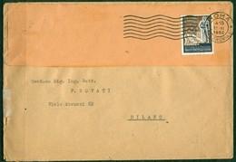 V6440 ITALIA 1952 REPUBBLICA Francobollo Sportivo 25 L. Isolato Su Lettera Da Roma A Milano, Annullo Di Arrivo - 1946-60: Storia Postale