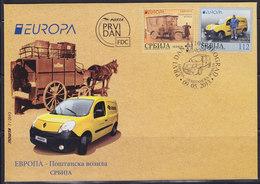 Serbia 2013 Europa CEPT - Postal Vehicles, FDC - Serbie