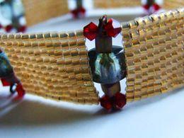Bracelet Artisanal, Bracelet Tissé, Verre Cristal, Miyuki Delica 230 22K Lined Cream Opal, Plaqué Or 22K, Artisanat Fran - Bracelets