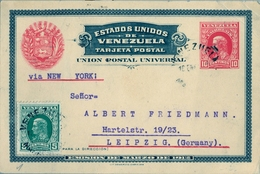 1913 , VENEZUELA , ENTERO POSTAL CIRCULADO , MARACAIBO - LEIPZIG , FR. COMPLEMENTARIO , VIA NUEVA YORK - Venezuela