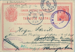 1897 , VENEZUELA , ENTERO POSTAL CIRCULADO , PUERTO CABELLO - BALINGEN , VIA NUEVA YORK , LLEGADA , REDIRIGIDO - Venezuela