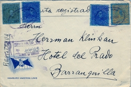 1934 , VENEZUELA , SOBRE DE LA HAMBURG - AMERIKA LINE CERTIFICADO A BARRANQUILLA - Venezuela
