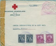 1944 , VENEZUELA , SOBRE DE LA SOCIEDAD VENEZOLANA DE LA CRUZ ROJA , CIRCULADO POR VIA AÉREA , CARACAS - GINEBRA - Venezuela
