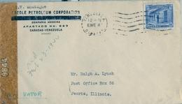 1944 , VENEZUELA , SOBRE COMERCIAL CIRCULADO , CARACAS - PEORIA ( ILLINOIS ) , CREOLE PETROLEUM CORPORATION, CENSURA - Venezuela