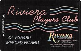 Riviera Casino - Las Vegas, NV - 7th Issue Slot Card - Line Under Signature Strip Left Aligned / PRINTED Player Info - Casino Cards