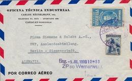 """1939 , VENEZUELA , SOBRE COMERCIAL CIRCULADO , CARACAS - BERLIN , AL DORSO """" POR AVION / DESDE CARACAS HASTA E.E.U.U. """" - Venezuela"""