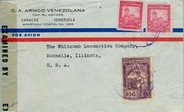 VENEZUELA , SOBRE COMERCIAL CIRCULADO , CARACAS - ROCHELLE , CENSURA , FR. VII SERIE MUNDIAL DE BASEBALL AMATEUR - Venezuela