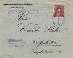 1909 , VENEZUELA , SOBRE COMERCIAL CIRCULADO , MARACAIBO - WOLFENBÜTTEL , VIA NUEVA YORK - Venezuela