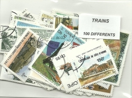 "Lot 100 Timbres Thematique "" Trains"" - Trains"